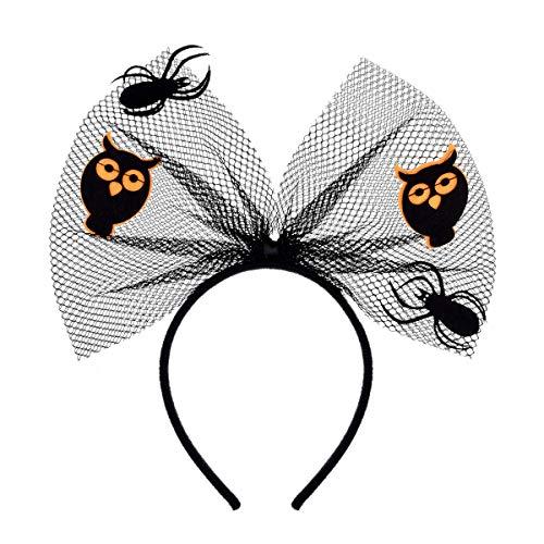 Love Sweety Halloween Spider Skull Headband Frida Kahlo Day of The Dead Costume Headpiece (Bow Owl)