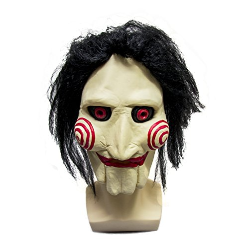 Jigsaw Puppet Costumes (WELLIN Party Halloween Saw Billy The Puppet Mask , Latex Masquerade Prop Christmas)