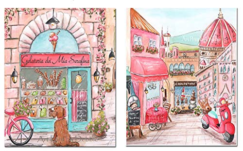 Italian Baby Girl - Florence Italy Set Of 2 Pink Personalized Nursery Prints, Gelato Shop, Italian Cafe, 6 Sizes - 5x7 to 24x36