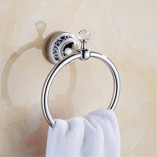 (GH8 Blue and white porcelain style stainless Towel Bar Ring For Bathroom Accessories DIY (A)