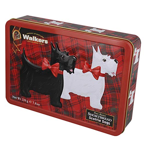 Walkers Shortbread Scottie Dog Tin with Assorted Traditional Shortbread Cookies, 7.8 Ounces