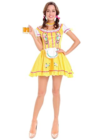 a9508323911d XFentech Donna Dirndl Abiti Oktoberfest Halloween Parti Costume Birra  Cameriera Principessa Uniforme Cosplay Vestito Cute Fancy Dress  Amazon.it   ...