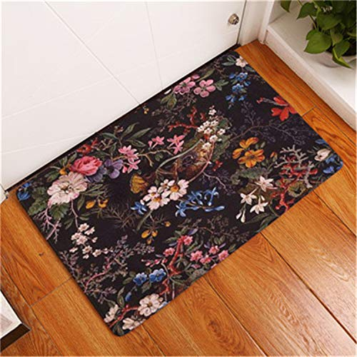 ExpertS Doormat Retro Style Stripe Beautiful Flower Print Carpets Anti-Slip Floor Mat Outdoor Rugs Creative Front Door Mats 6 50x80cm