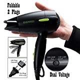 Professional Blow Dryer for Travel,Folding Hair Dryer Dual Voltage 1300 to 1500W Negative