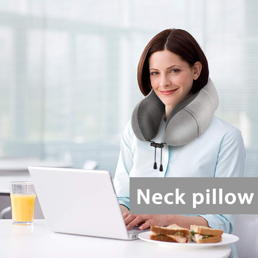 Peacock blue Newdora Neck Pillow Travel Pillow Memory Foam Sleeping Comfort Lumbar Support Neck CushionTravel Kit Compact for Travel Office Home Camping Car with Sleeping Mask Earplugs Storage Pouch