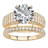 Round White Cubic Zirconia 14k Gold over .925 Silver 2-Piece Bridal Ring Set Size 6