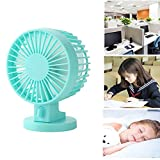 Table Desk Personal Fan Cooling Fans,USB double leaf fan Mini Desk Fan cooling Portable Chargeable Bed Student Dorm Room Office Desktop -Blue