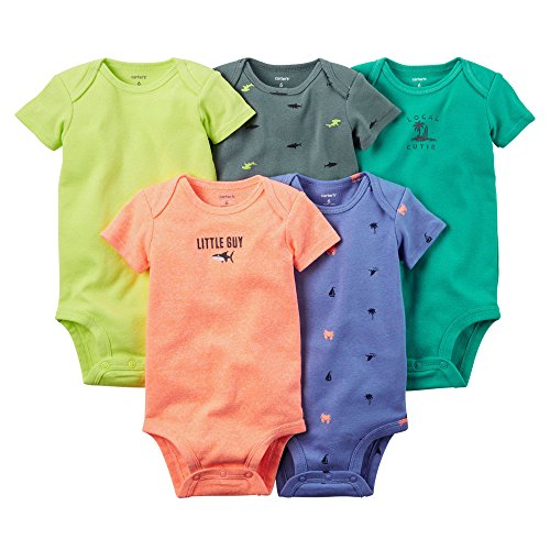 Carter's 5-Pack Short-Sleeve Bodysuits-Bright Solid