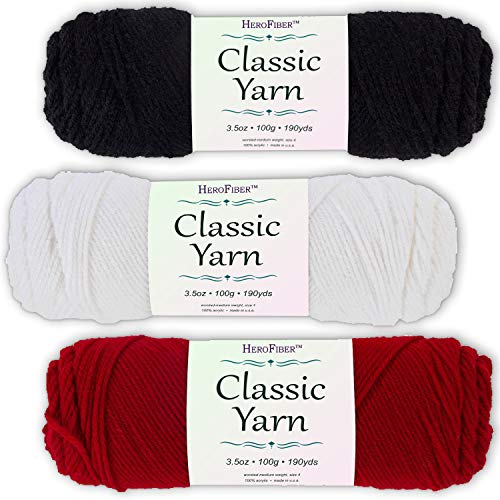 Soft Acrylic Yarn 3-Pack, 3.5oz / Ball, Night Black + Snow White + Cherry Red. Great Value for Knitting, Crochet, Needlework, Arts & Crafts Projects, Gift Set for Beginners and pros Alike