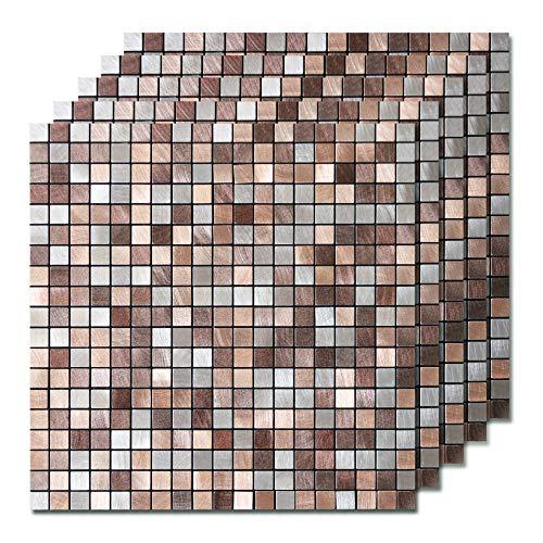 Backsplash Copper (STICKGOO Peel and Stick Backsplash Tile, Metal & PVC Kitchen Backsplash, Copper Tiles Decorated Shower & Fireplace (5 Pcs))