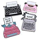 Cute Unique Enamel Pin Set - Novelty Art Enamel Lapel Pin Set - Funny Cartoon Enamel Brooch Pin Pack for Girls Boys Women Men (Typewriter pins-4pcs)