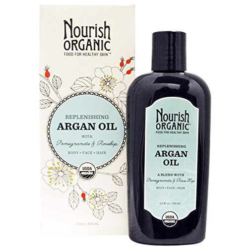 Nourish Organic, Replenishing Argan Oil with Pomegranate and Rosehip, 3.4 oz (101 ml) – 2pc