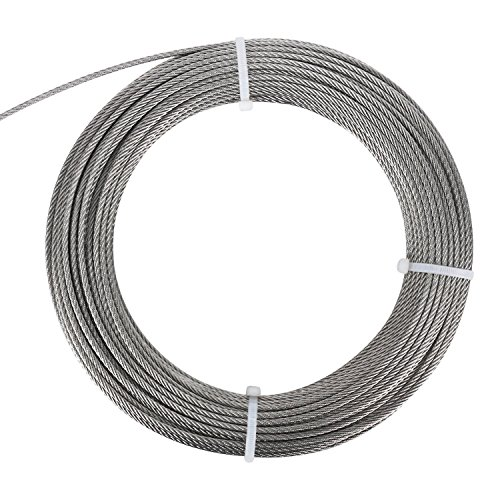 DasMarine Stainless Aircraft Steel Wire Rope Cable for Railing,Decking, DIY Balustrade, 1/8Inch,7x7 (1/8Inch, 7x7, - Thimble Rope Galvanized