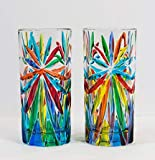 Murano Tall Drinking Glasses with 'Starburst' Pattern Set of 2 - Quality Handmade Italian Glass