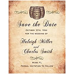 30 Save The Date Cards Wine Barrel Old Style Design Wedding Personalized Photo Paper