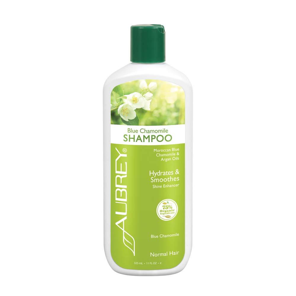 Aubrey Blue Chamomile Shampoo | Adds Shine & Hydrates | Moroccan Blue Chamomile & Argan Oils | Normal Hair | 75% Organic Ingredients | 11oz
