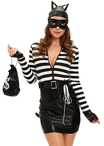 Booty Gal Women's Sexy Role Play Cosplay Catwoman Costume Set For Hallowmas (Homemade Bumble Bee Costume For Adults)