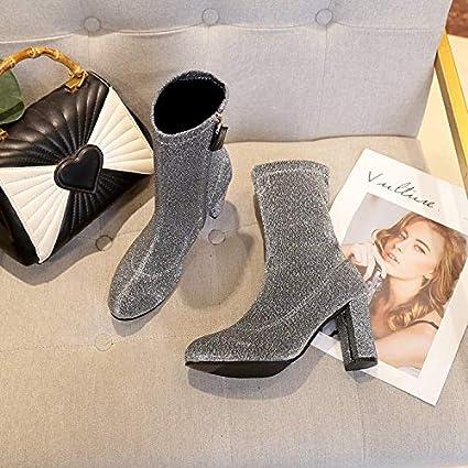Shukun Botines Zapatos de Mujer de Plata Botas Cortas de Primavera y otoño Botas Cortas Botas