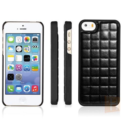 ® iCareR etui pour iPhone 5/5S coque de protection en cuir à rabat et grid-jupe noir