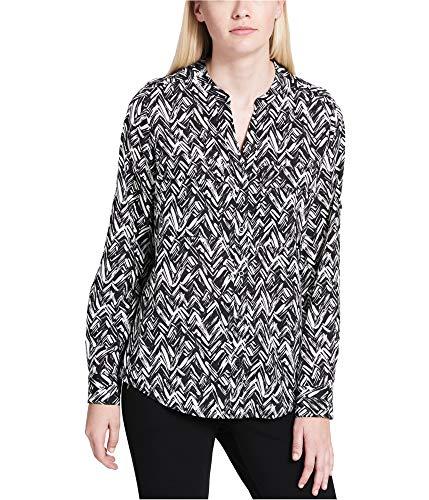 Calvin Klein Womens Printed Long Sleeves Casual Top B/W L Black/White
