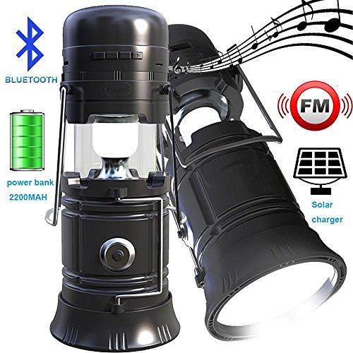 Flashlight Watt 1 Led Lantern (LED Camping lantern Portable Outdoor Flashlight Bluetooth Speaker FM Radio Call Reminder Solar Charging 2200Mah Power Bank Camping Gear for Camping Hunting Hurricane Emergencies Support TF Card / FM)