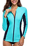 V for City Women's Long Sleeve Swimsuit Zipper Front Rash Guard UPF 50+ Rashguard UV Swim Shirt Aqua XL