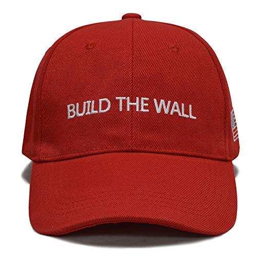 Besti Make America Great Again Donald Trump Slogan with USA Flag Cap Adjustable Baseball Hat (Build The Wall - Of America Wall