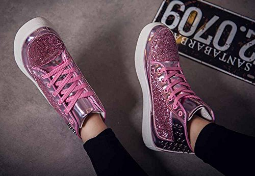 Männer und Frauen Nieten Rock Punk flache Schuhe Paar Mode Skateboard Schuhe Unisex Hallo-Top Sneakers Rosa