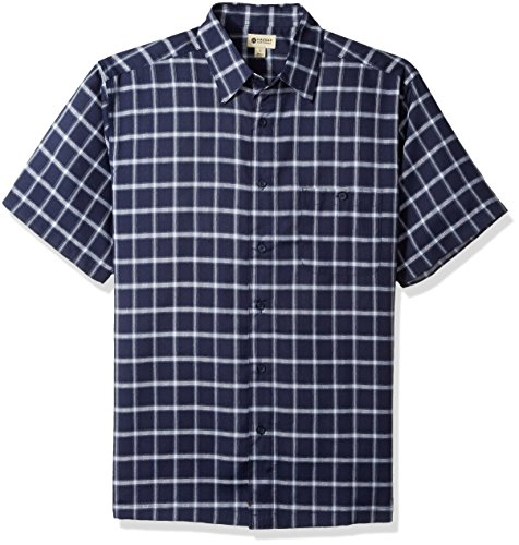 Haggar Men's Short Sleeve Microfiber Woven Shirt, Navy/Blue Reef, S