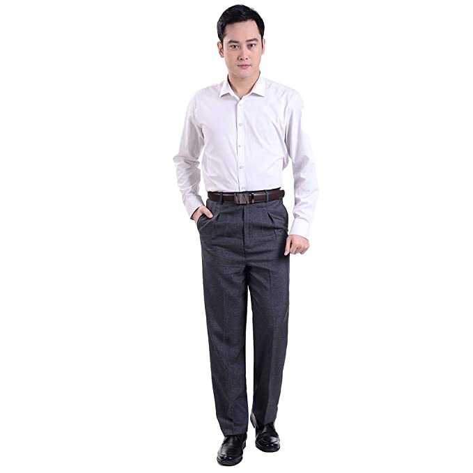 29e5bbc933c Image Unavailable. Image not available for. Color  KINDOYO Mens Suit Pants  - New Casual Large Size Pants - 34 Style 02