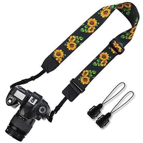 Elvam Camera Adjustable Neck Shoulder Belt Strap for Men/Women Compatible with Universal DSLR/SLR/Digital Camera/Instant Camera - Sunflower