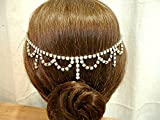 Art Deco Bridal Hair Chain, Vintage 1920s Rhinestone Necklace to ONE-OF-A-KIND Wedding Forehead or Back of Head Band Headband. Great Gatsby / Bohemian Headpiece