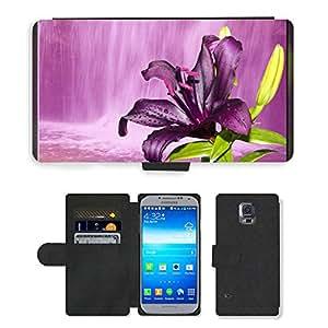 PU LEATHER case coque housse smartphone Flip bag Cover protection // M00153241 Lily púrpura Cascada Sueño Imagen // Samsung Galaxy S5 S V SV i9600 (Not Fits S5 ACTIVE)