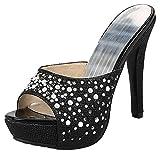 Mofri Women's Sexy Rhinestone Peep Toe Slide Sandals Stiletto High Heels Platform Clogs Shoes (Black, 8.5 B(M) US)