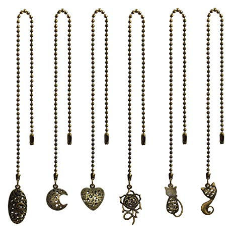 6 Pcs Different Vintage Bronze Charm Pendant Ceiling Fan Pull Chain Extender with Ball Chain Connector by MOMOONNON