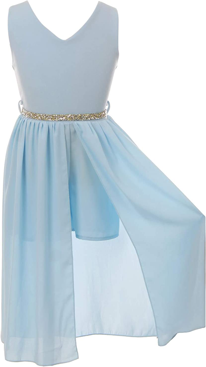 BNY Corner Little Girls Off Shoulder High Low Maxi Skirt Romper Casual Party Jumpsuit 4-14