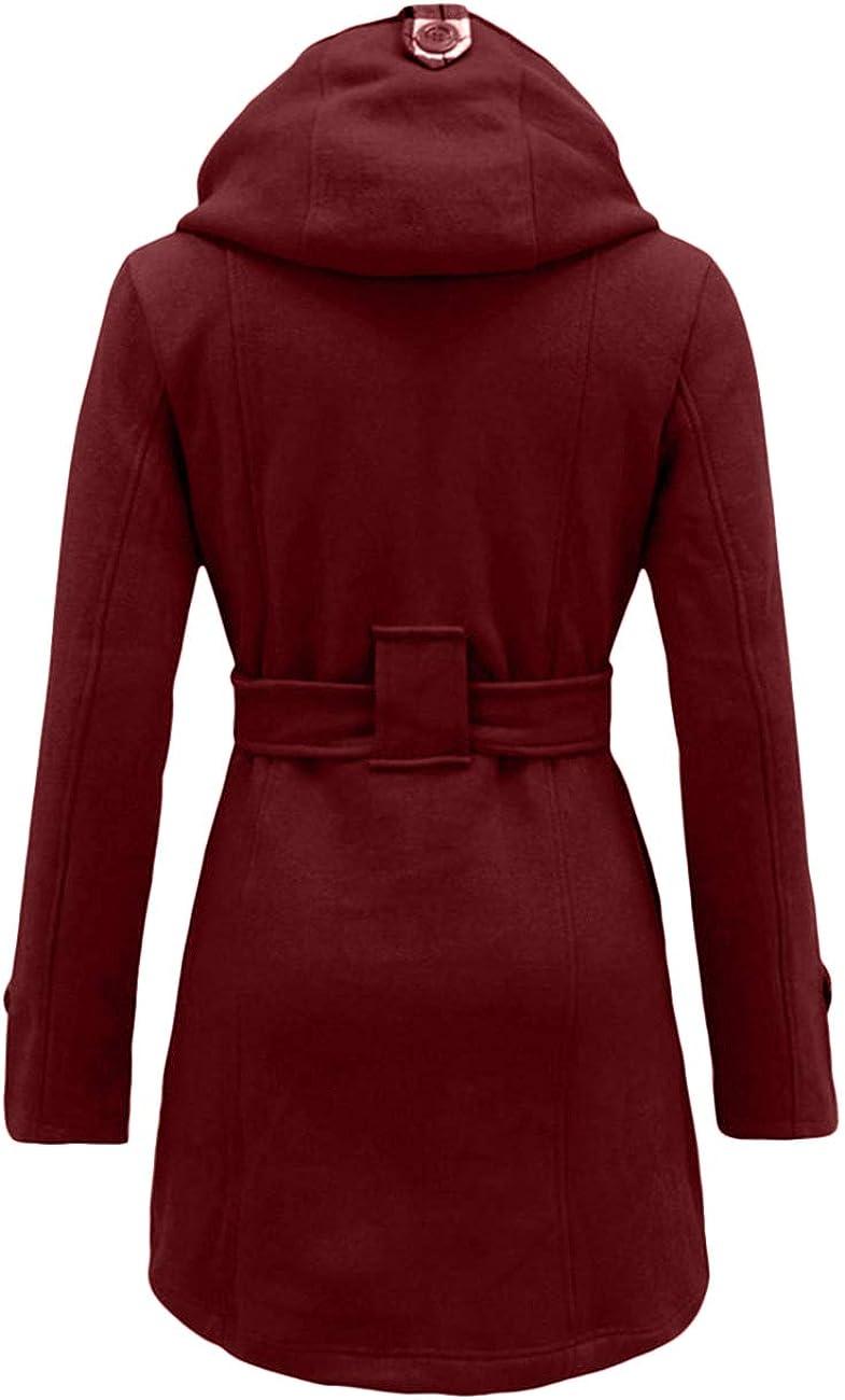 OMZIN Women Mid Length Trench Coat Winter Solid Lapel Dress Coat Wine Red,XL