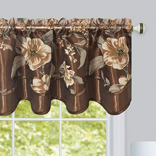 - GOHD Golden Ocean Home Decor Roman Romance. Burnt-Out Printed Organza Window Treatment. 1pc Double Layer Valance. Floral Print Organza Voile Sheer with Taffeta Backing (Brown, 55 x 18 inches)