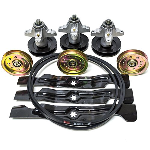 "Complete Cub Cadet MTD 50"" RZT RZT50 Zero Turn Rebuild Kit Spindles Pulleys Belt Blades 742-04053A 918-04126 954-04044 756-04129"