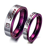 """His and Hers Unique Purple Stainless Steel """"Love Review and Comparison"""