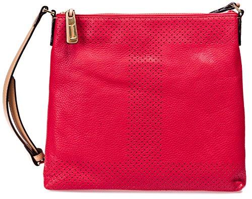 Isaac Mizrahi Womens Fashion Designer Handbags Kay Leather Crossbody Shoulder Bag Watermelon Red Red