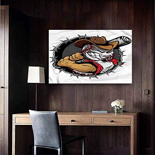 Gabriesl Wall Mural Wallpaper Stickers Sports Baseball Face Cartoon Cowboy Office Fashion Size : W28 x H20]()