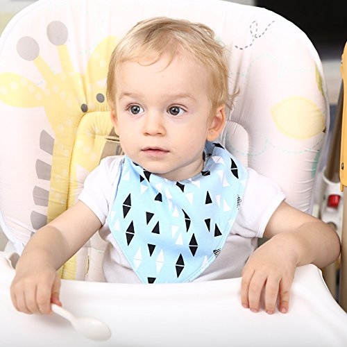 Baby Bandana Drool Bibs, Unisex 8-Pack Gift Set, 100% Organic Cotton, Soft and Absorbent, adjustable by KIDZY