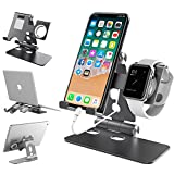 Apple Watch Stand Universal iPhone Stand VELAGOL Desktop Charging Stand for iWatch And iPhone[4 in 1] Adjustable Phone Holder for iPhone Smartphone Apple Watch iPad Tablet Macbook - Dark Gray