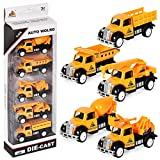 Kigin Friction Powered Cars, Push and Pull Toy Construction Trucks/ Fire Trucks/Police Trucks/Military Trucks/Farm Trucks Toys Set for 1-3 Year Old Baby Toddlers-Construction Truck