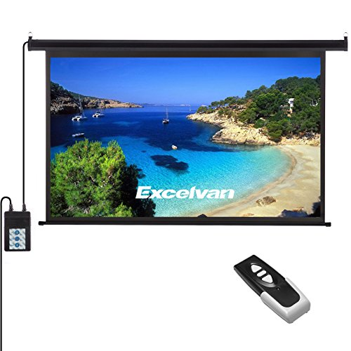 Price comparison product image Excelvan Portable 120 Inch 16:9 1.2 Gain Wall Ceiling Electric Motorized HD 4K Indoor Outdoor Projector Screen with Remote Control for Family Home Theater and Office