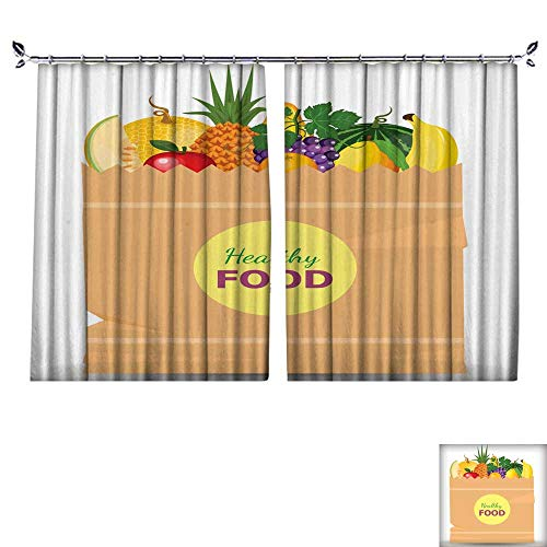 Style Study Loft Bunk Full (DragonBuildingMaterials Drapes W55 x L72 Darkening Blackout CurtainSupermarket-Packet-Full-of-Fresh-Fruits-Food-Shopping-Packet-with-Natural-and-Organic-Food-with-Flat-Color-Style)