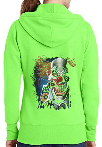 Womens Joker Clown Full Zip Hoodie, Neon Green, 4X