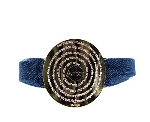 Martinuzzi Accessories Our Father Prayer Bracelet. Lord's Prayer Bracelet Elastic Band (English) (Navy Blue)