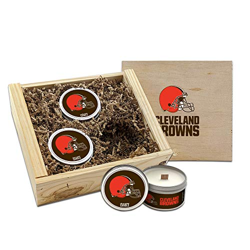 Worthy Promo NFL Scented Candles Gift Set in Wood Box (Cleveland Browns)
